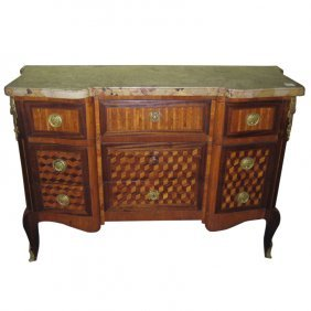 19th C. Louis Xv Style Parquetry Inlaid Marble-top