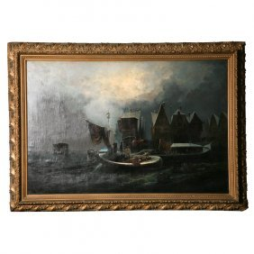 Rinaldo Saporti, It. 1840-1913, Venetian Night Water
