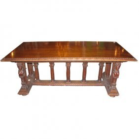 "19th C. Italian Carved Walnut Trestle Table. H: 30"" W:"