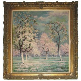 Lefebvre, French 20th C Cherry Blossoms In Blume, Oil