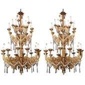 Pair of 19th c. bronze and crystal Gothic 24-light