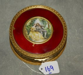 French Gilt-bronze Box With Miniature Painting. H:
