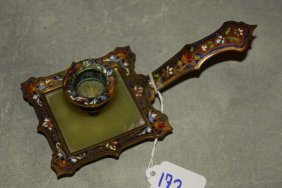 19th C. French Champleve Enamel And Onyx Chamber Stick.