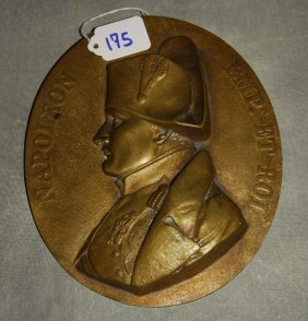 """19th C. Bronze Roundel Of Napoleon. D: 8.25"""""""
