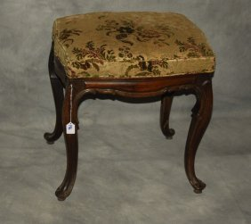 """19th C. Louis Xv Carved Walnut Bench. H: 21"""" W: 20"""" D:"""