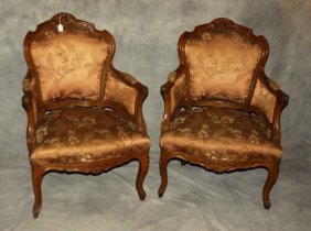 Pair Of Louis Xv Style Carved Fruitwood Bergeres. H: