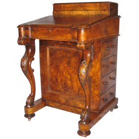 19th C. English Carved Walnut Davenport Desk