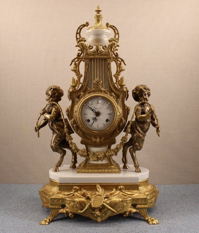 French Empire Imperial Marble Gold Mantel Clock