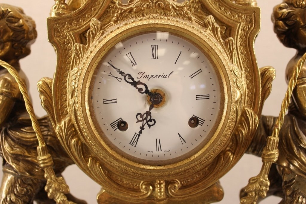 French Empire Imperial Marble Gold Mantel Clock - 2