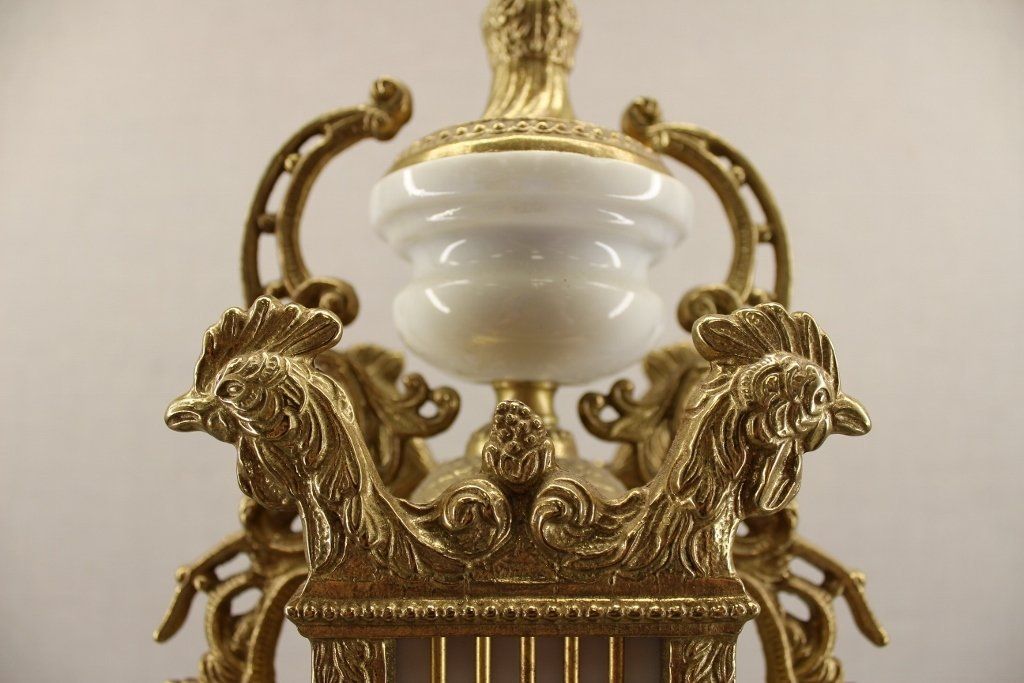 French Empire Imperial Marble Gold Mantel Clock - 4