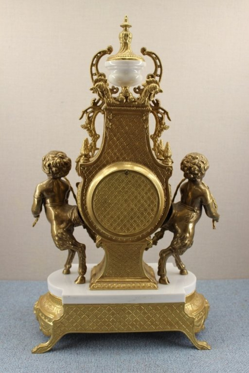 French Empire Imperial Marble Gold Mantel Clock - 8