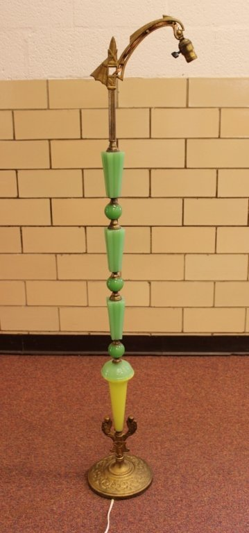Jadeite Egyptian Art Deco Bridge Arm Floor Lamp