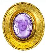 ANTIQUE CARVED AMETHYST CAMEO BROOCH