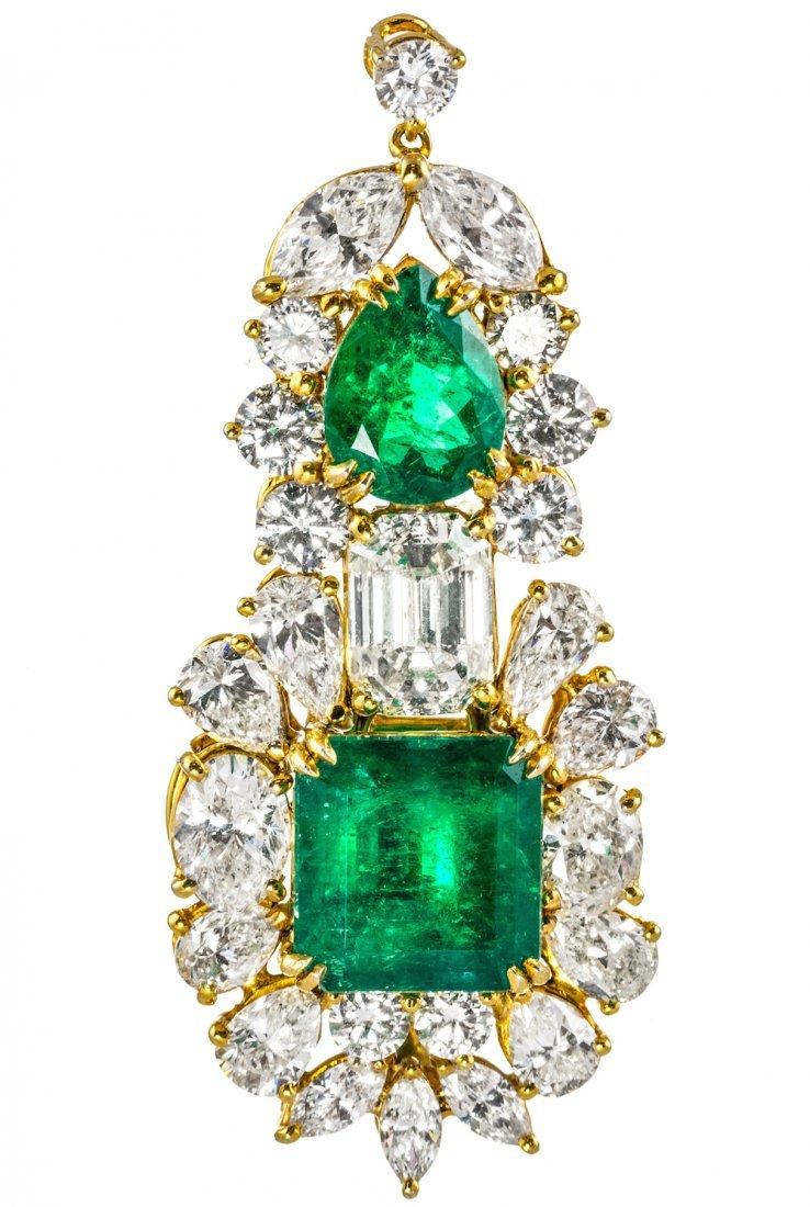 AN IMPORTANT DIAMOND AND EMERALD PENDANT