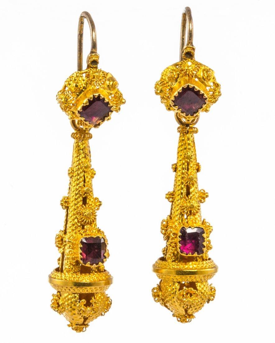 Regency garnet and cannetille ear pendants