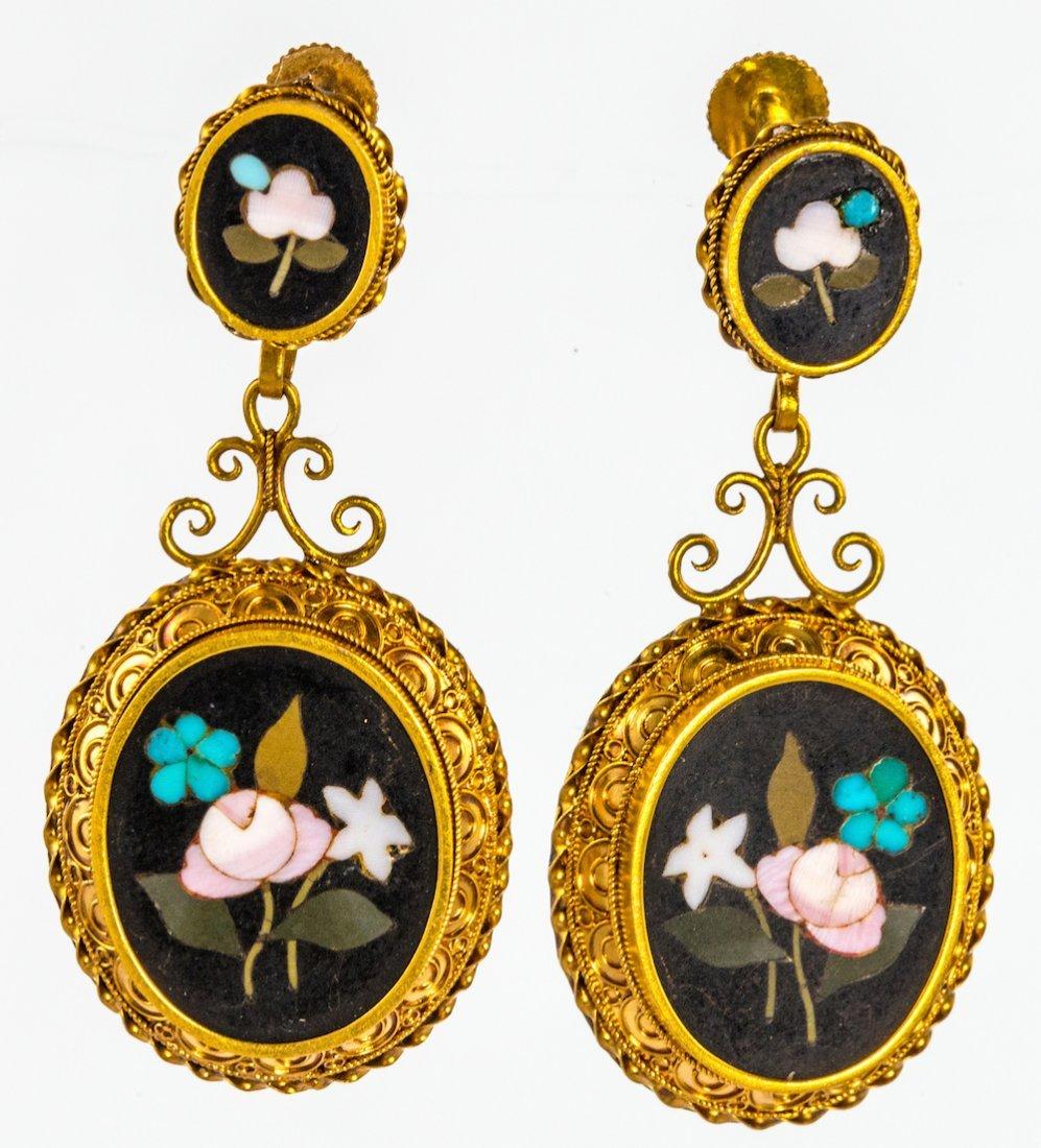 Pietra dura ear pendants