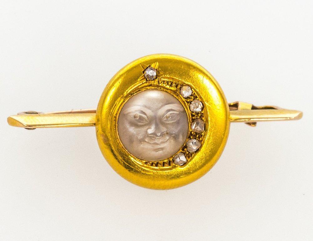 Diamond and moonstone Man-in-the-Moon bar-brooch