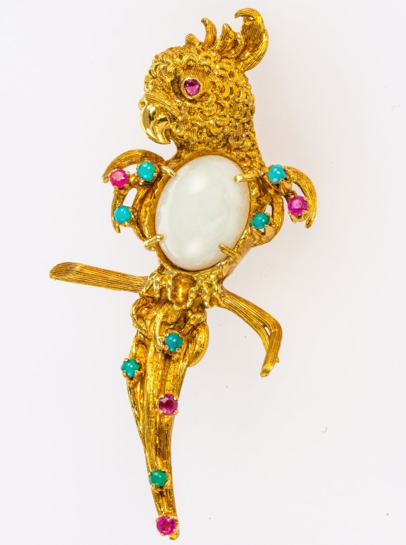 18ct yellow gold white jade, ruby and emerald parrot