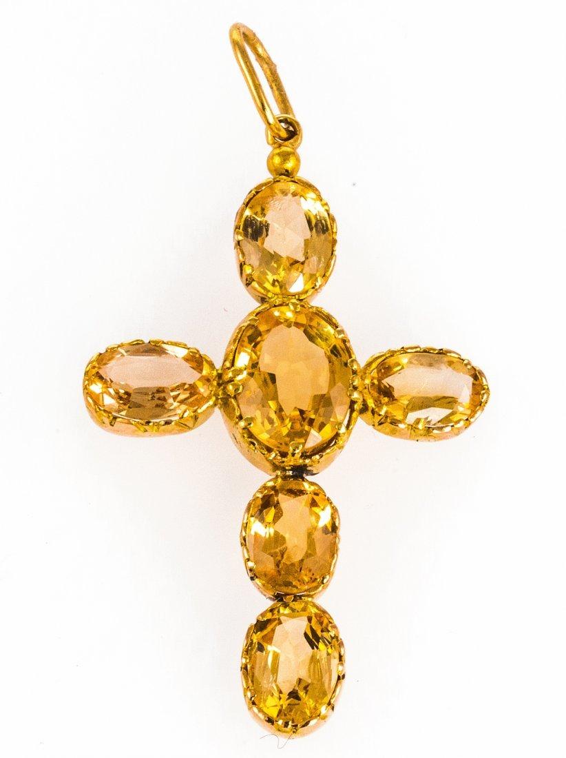 Nineteenth Century Golden Topaz Cross Pendant