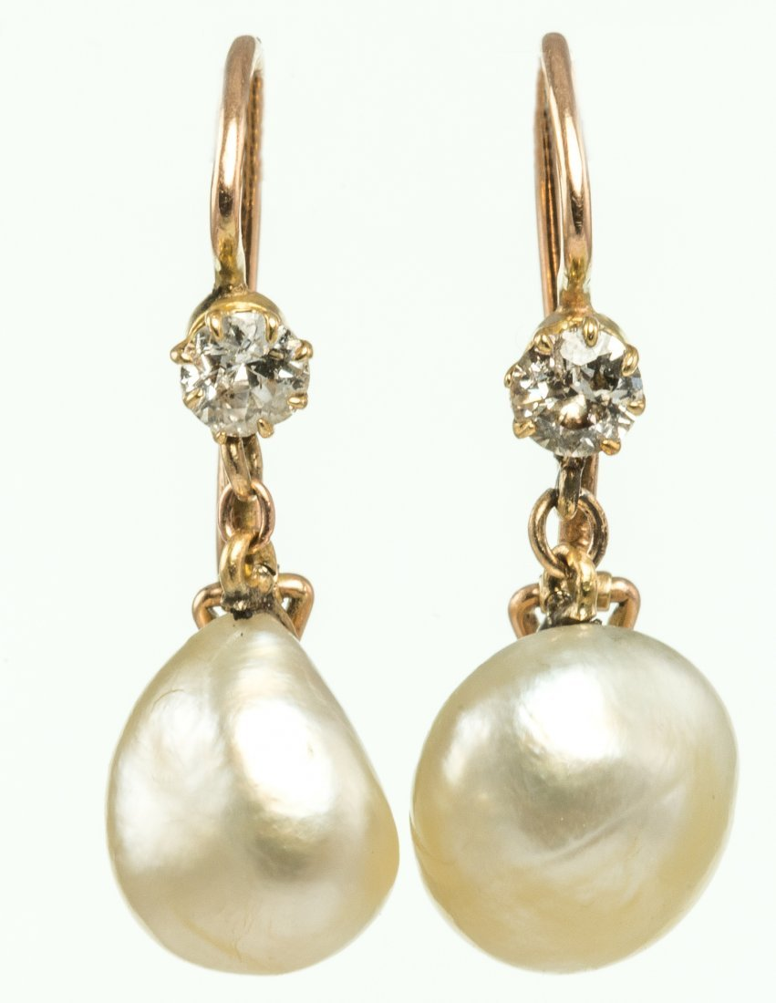 Certificated Diamond and Natural Pearl Drop Earrings