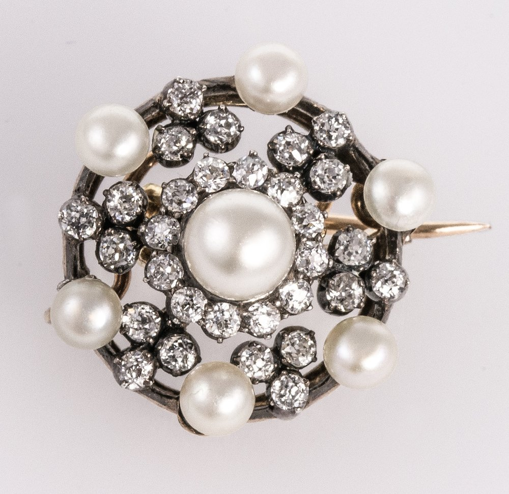 A Certificated Pearl and Diamond Target Brooch