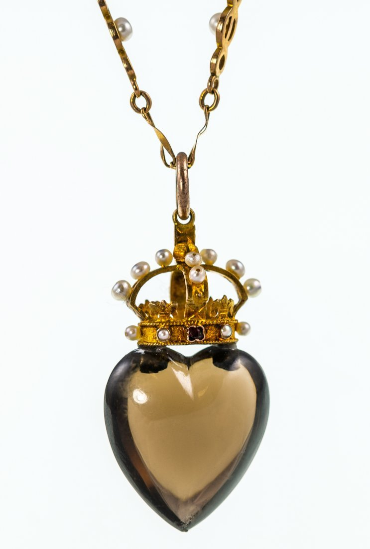 Victorian smoky quartz seed pearl and gem set pendant