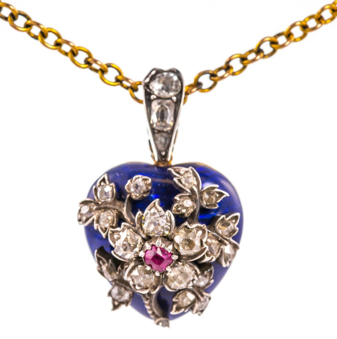 Gold, Enamel, Diamond and Ruby Victorian Heart Pendent