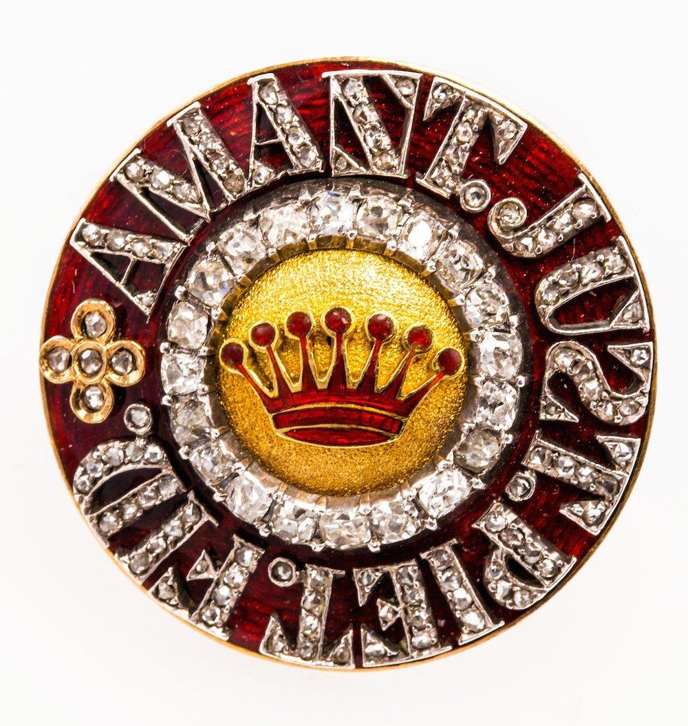 Gold, Enamel and Diamond Set Brooch, Order Of St Ann