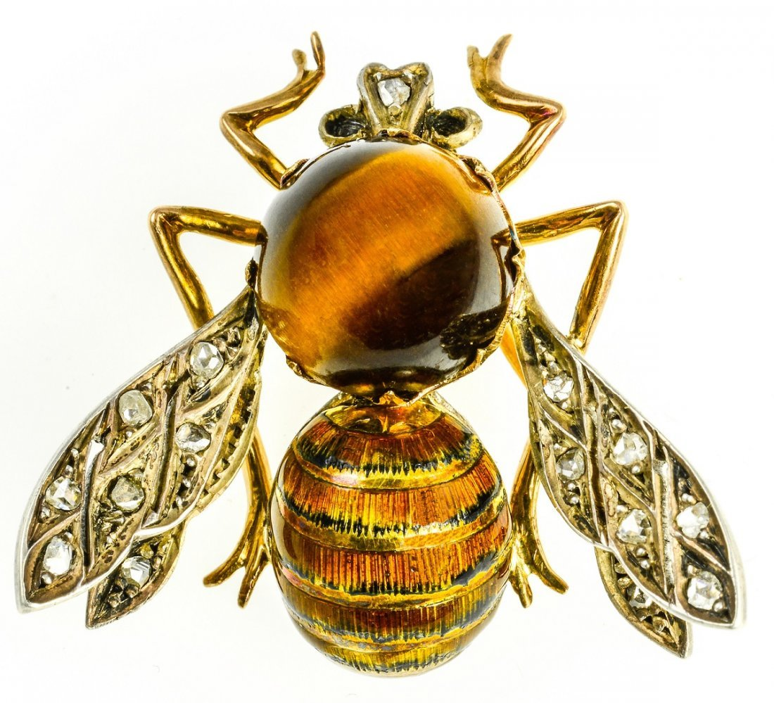 Victorian Tigers Eye, Diamond and Enamel Bee Brooch