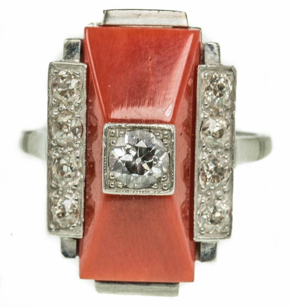 ART DECO PLATINUM CORAL AND DIAMOND RING
