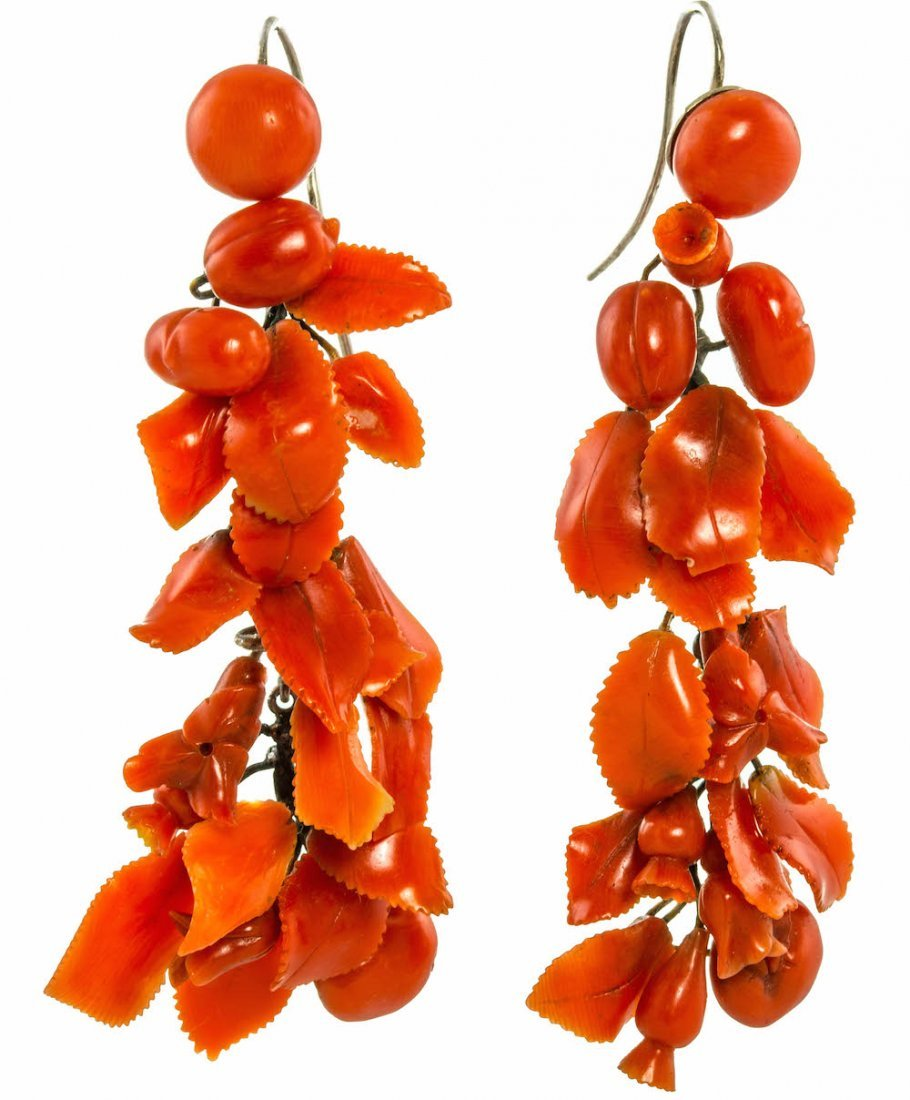 ANTIQUE CORAL EAR PENDENTS