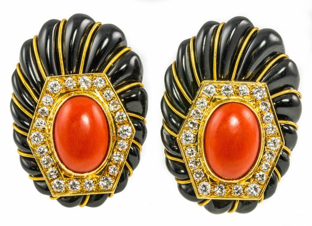 18CT GOLD, CORAL, DIAMOND AND ONYX EAR CLIPS