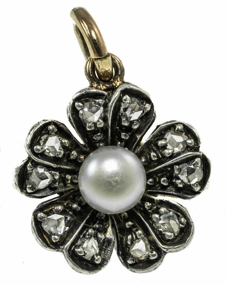 DIAMOND AND PEARL FLOWER BROOCH