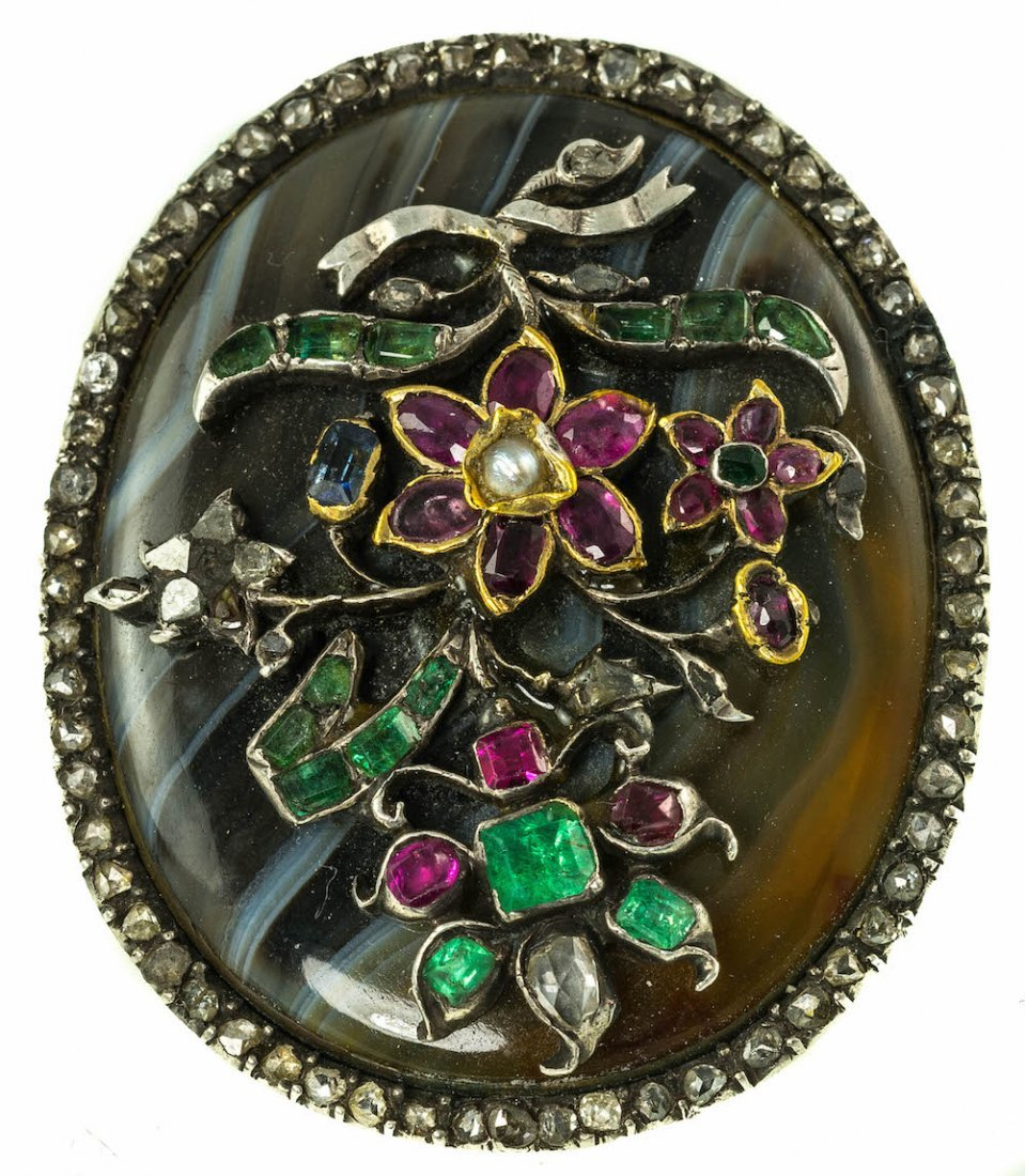 EMERALD, RUBY AGATE AND DIAMOND BROOCH