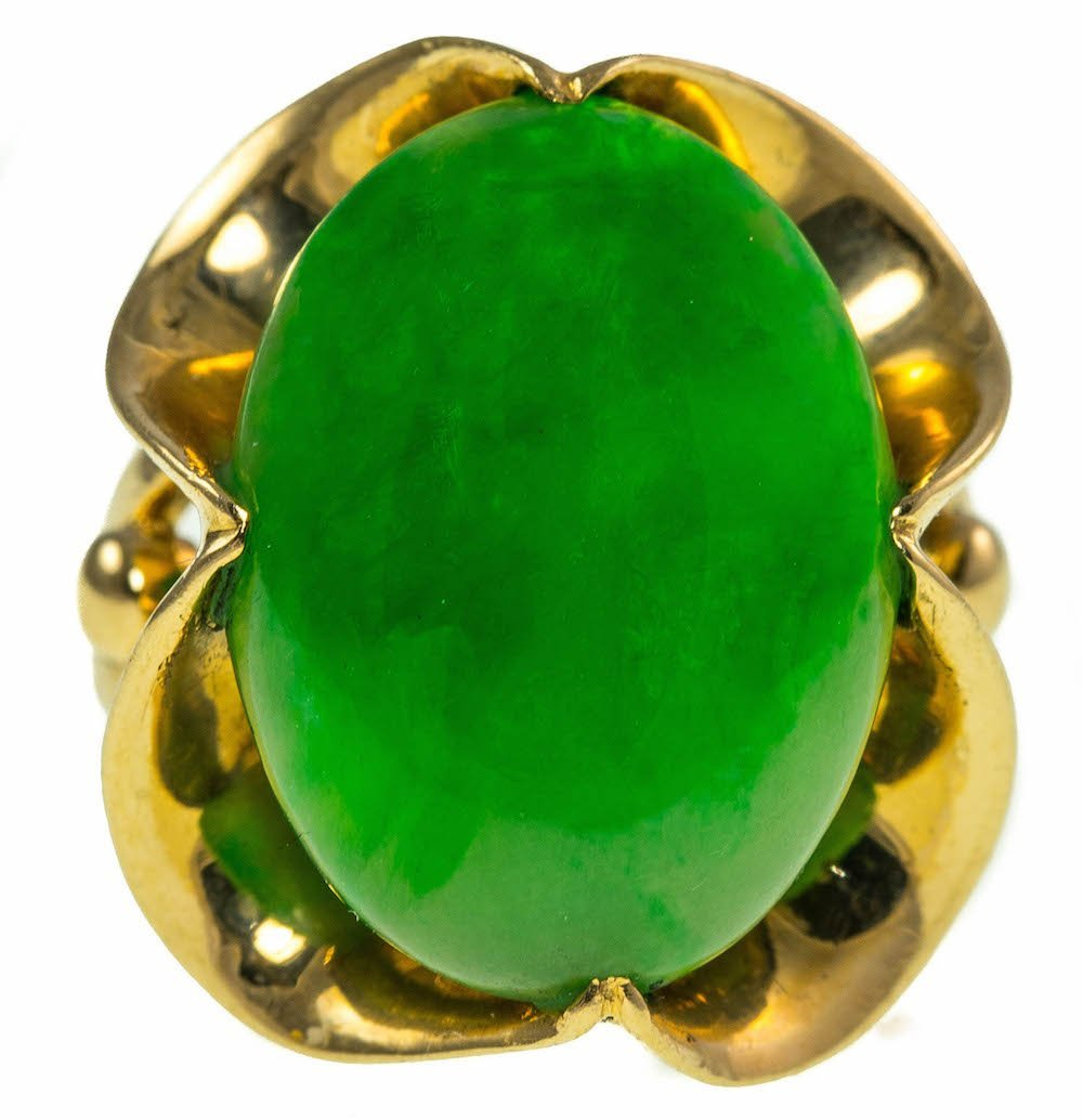 CERTIFICATED JADEITE AND GOLD RING