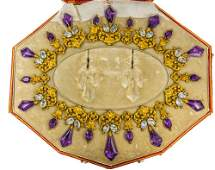 VICTORIAN 18ct GOLD, AMETHYST AND AQUAMARINE NECKLACE