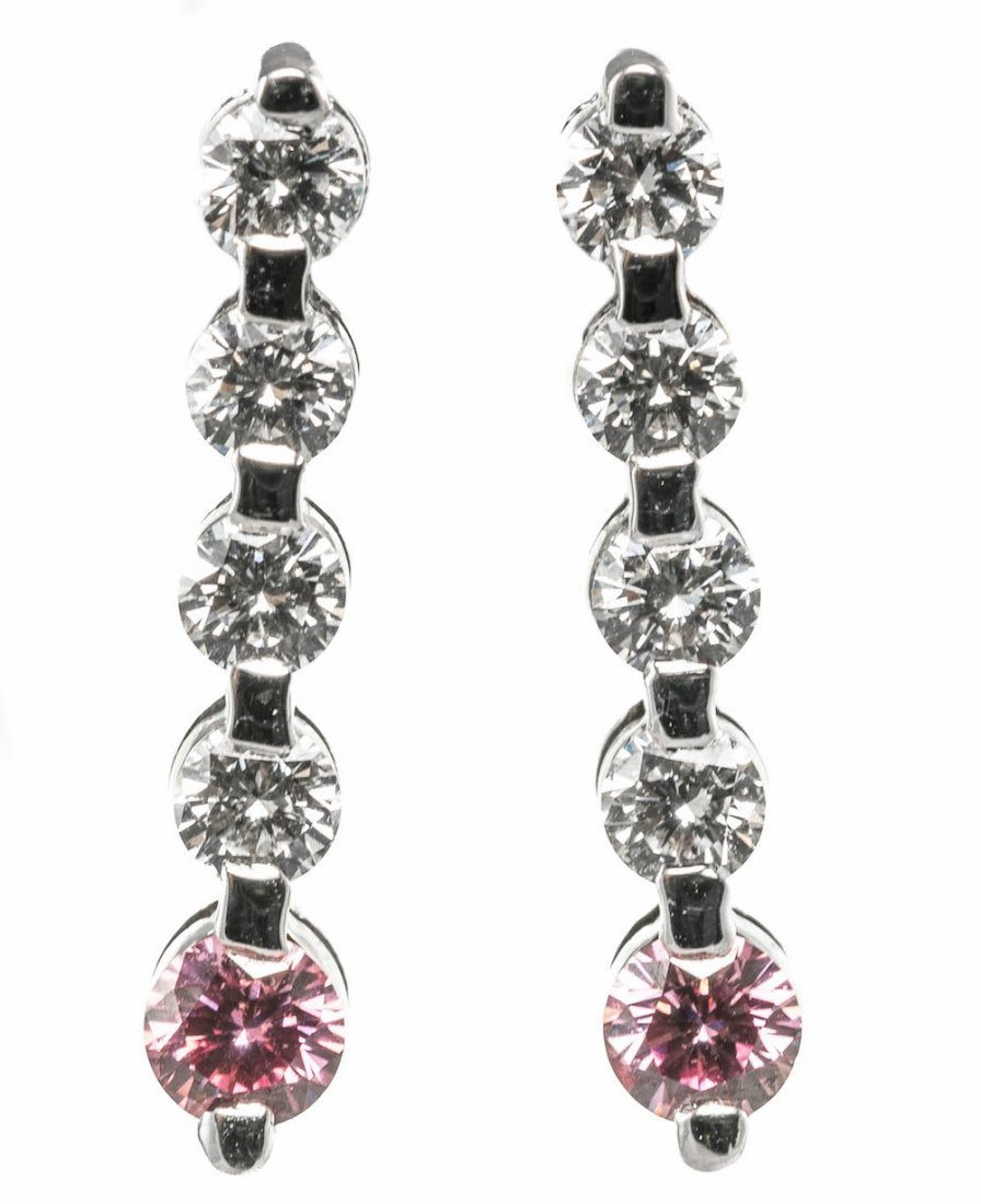 FANCY PINK AND WHITE DIAMOND EARINGS