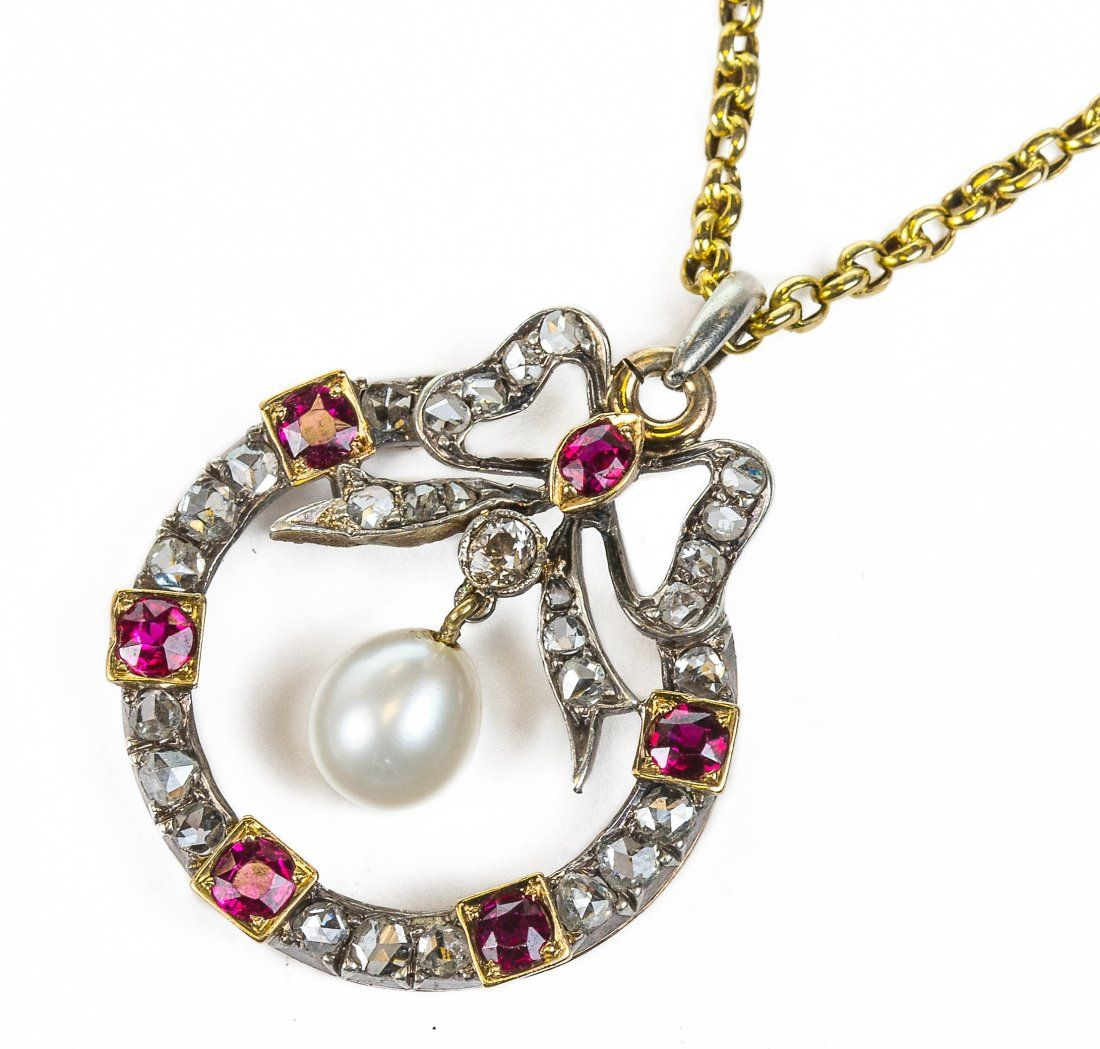 A VICTORIAN NATURAL PEARL, RUBY, DIAMOND AND GOLD