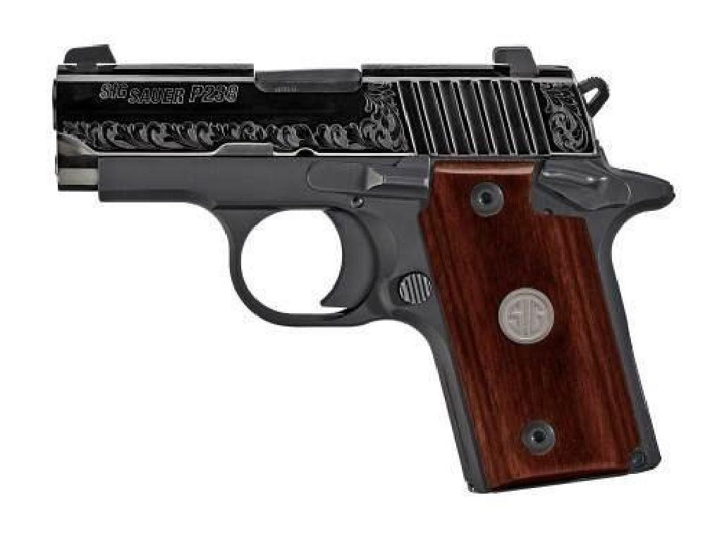 """*NEW* SIG SAUER P238 380 ACP 2.7"""" 6RD ENGRAVED ROSEWOOD"""