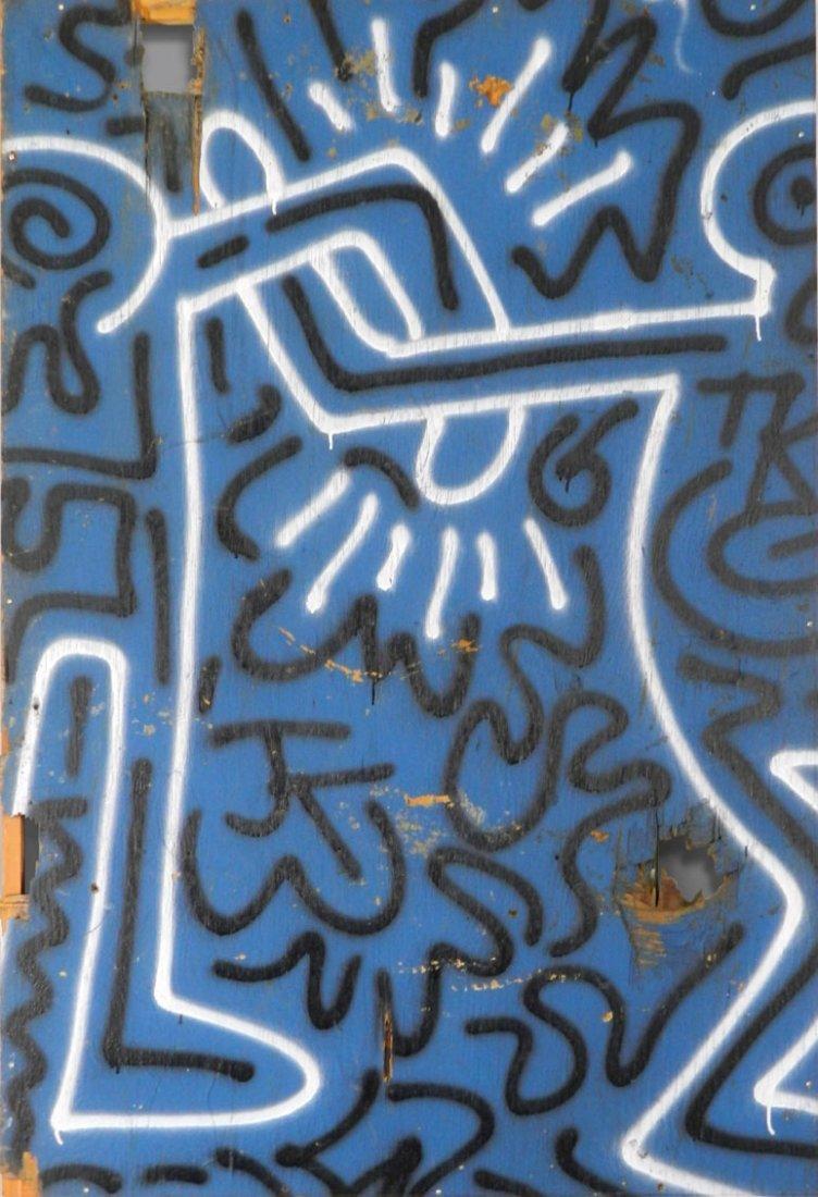 Keith Haring Original Spray paint on Plywood
