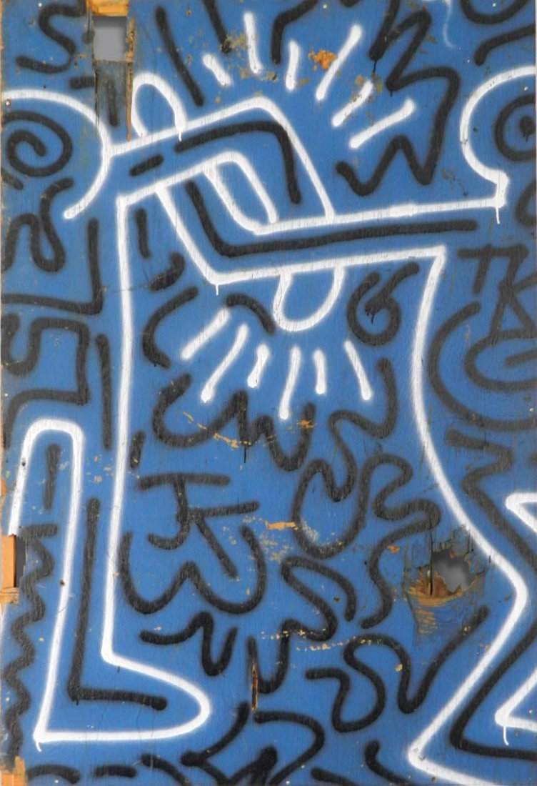 Keith Haring Original Spray paint on Plywood