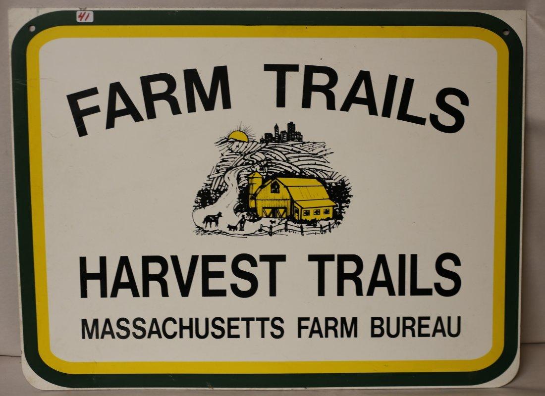 Old Farm Trail Sign Massachusetts Farm Bureau Sign