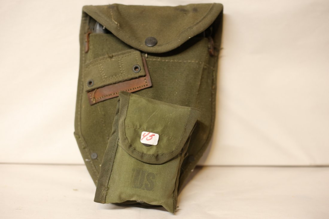 US Army Shovel with pouch and medical pouch patch kit.