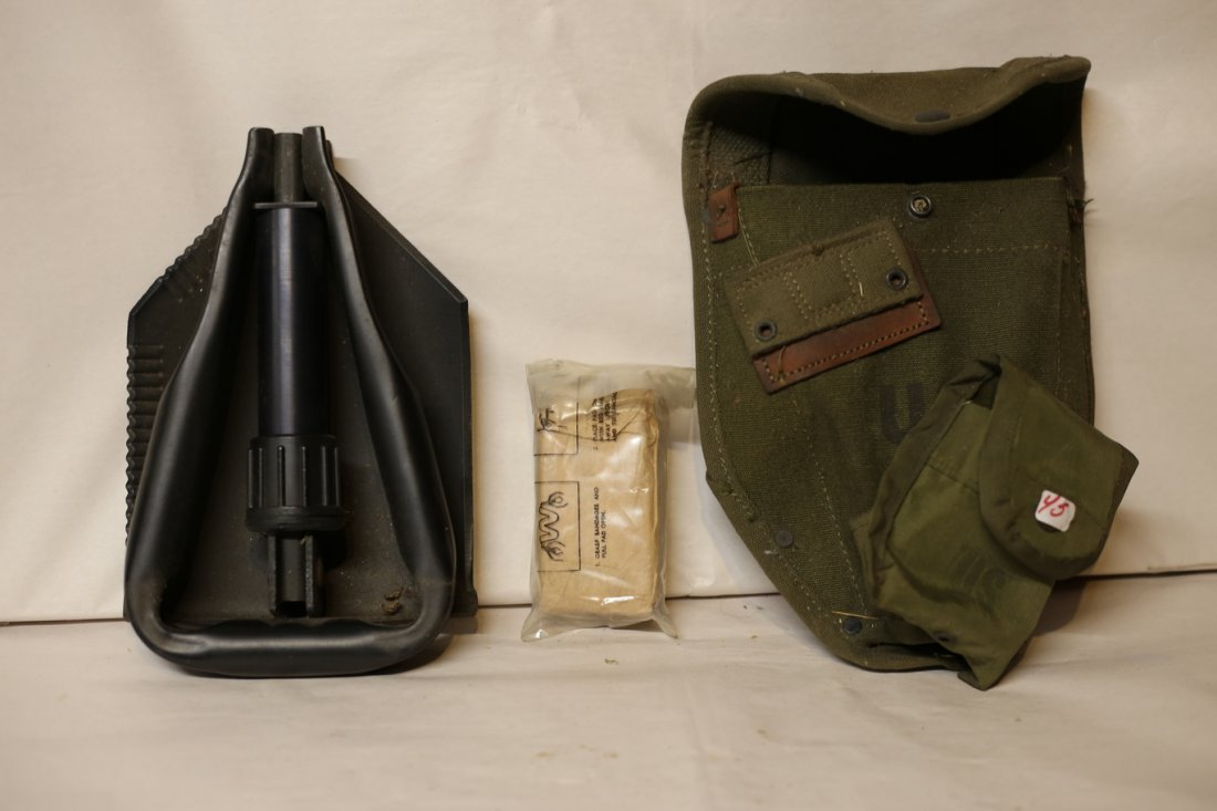 US Army Shovel with pouch and medical pouch patch kit. - 2