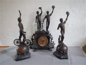 Antique bicycle Bronze Clock set