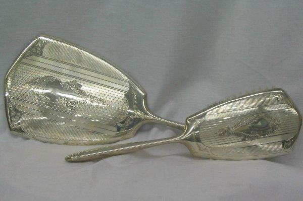 L504-Solid Silver Mirror & Brush