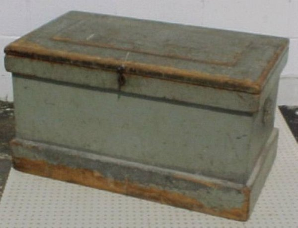 L505-Painted grey wooden early tool chest.