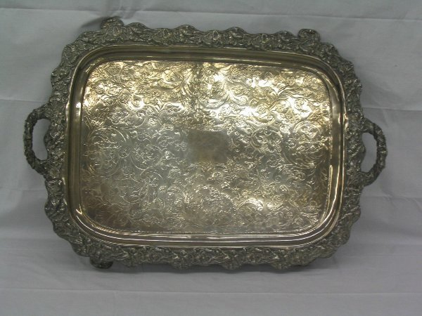 L512-Early Silver Plate large tray with handles