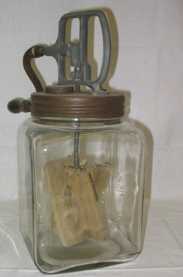 L516-Glass butter churn marked Blow Butter Churn 4/40.