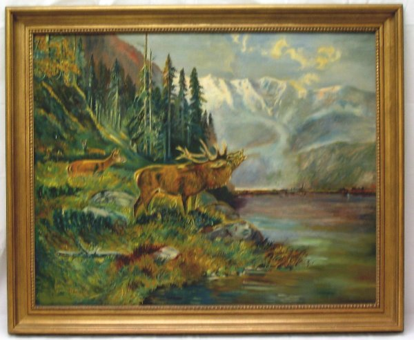 L522-Painting  Wildlife Scene by Wilda Anderson